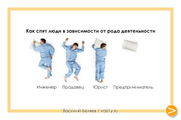 Как спят люди в зависимости от рода деятельности